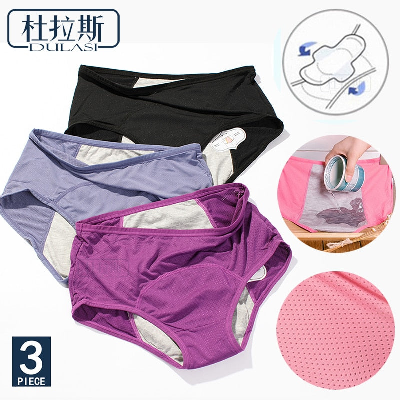 DULASI 3pcs Leak Proof Menstrual Panties Physiological Pants Women Underwear Period Cotton Waterproof Briefs Dropshipping-hipnfly-hipnfly