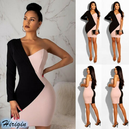 Summer Pencil Dresses 2019 New Women Summer Sexy One Long Sleeve V Neck Black and Pink Patchwork Short Pencil Dress-hipnfly-hipnfly