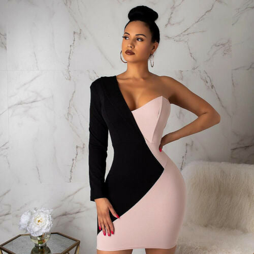 Summer Pencil Dresses 2019 New Women Summer Sexy One Long Sleeve V Neck Black and Pink Patchwork Short Pencil Dress-hipnfly-Black and Pink-S-hipnfly