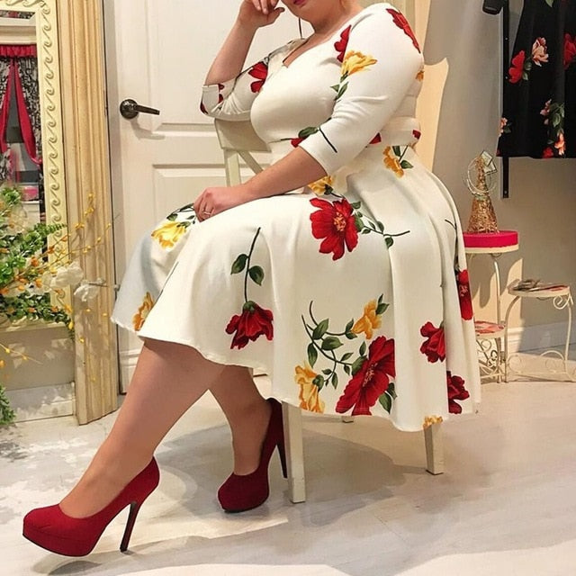 Plus Size Dress 5XL Women Floral Printed 1/2 Half Sleeve V neck Sexy White midi Dress robe femme office Lady vestidos-hipnfly-White-XXL-hipnfly
