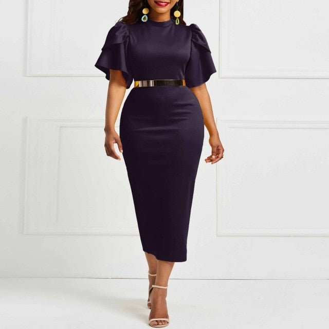 2019 women office dress ladies yellow dress working girl ruffle zipper plus size evening summer bodycon midi dresses sheath slim-hipnfly-dark purple-XXL-hipnfly