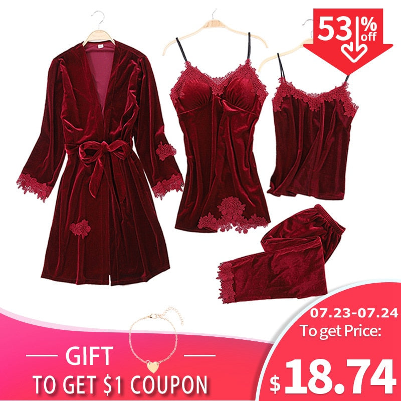 JULY'S SONG 2019 Gold Velvet 4 Pieces Warm Winter Pajamas Sets Women Sexy Lace Robe Pajamas Sleepwear Kit Sleeveless Nightwear-hipnfly-hipnfly
