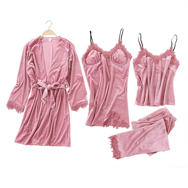 JULY'S SONG 2019 Gold Velvet 4 Pieces Warm Winter Pajamas Sets Women Sexy Lace Robe Pajamas Sleepwear Kit Sleeveless Nightwear-hipnfly-1-L-China-hipnfly