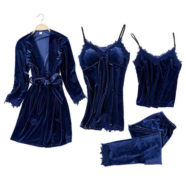 JULY'S SONG 2019 Gold Velvet 4 Pieces Warm Winter Pajamas Sets Women Sexy Lace Robe Pajamas Sleepwear Kit Sleeveless Nightwear-hipnfly-2-L-China-hipnfly