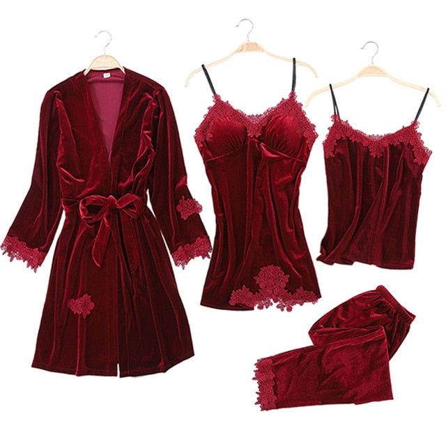 JULY'S SONG 2019 Gold Velvet 4 Pieces Warm Winter Pajamas Sets Women Sexy Lace Robe Pajamas Sleepwear Kit Sleeveless Nightwear-hipnfly-3-L-China-hipnfly