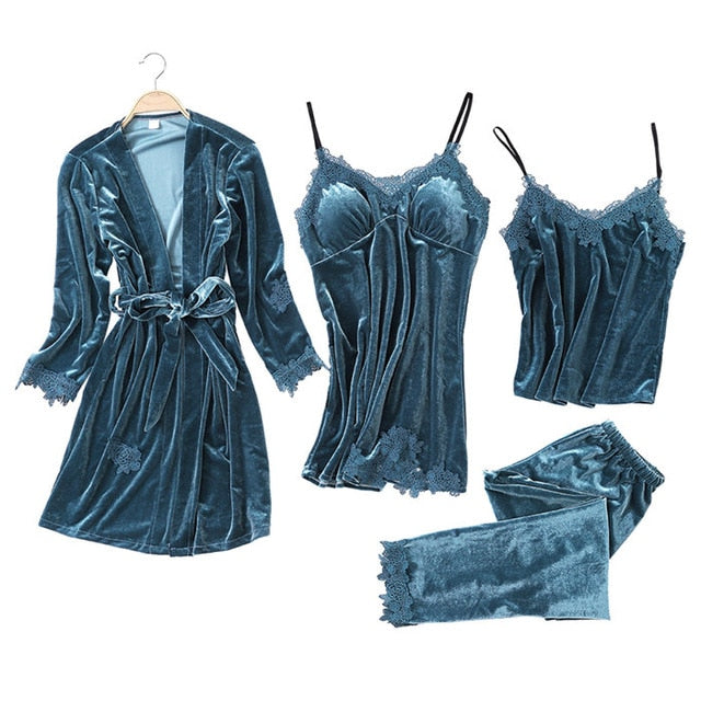 JULY'S SONG 2019 Gold Velvet 4 Pieces Warm Winter Pajamas Sets Women Sexy Lace Robe Pajamas Sleepwear Kit Sleeveless Nightwear-hipnfly-4-XL-Russian Federation-hipnfly