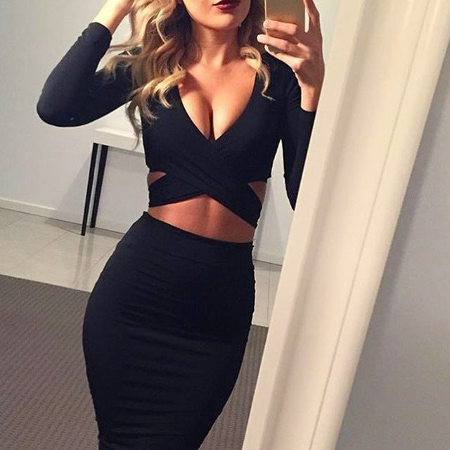 Nadafair Sexy Midi Pencil Club Bodycon Bandage Dress Women Autumn Winter Long Sleeve Red Black White Party Dress Vestidos-hipnfly-Black-S-hipnfly
