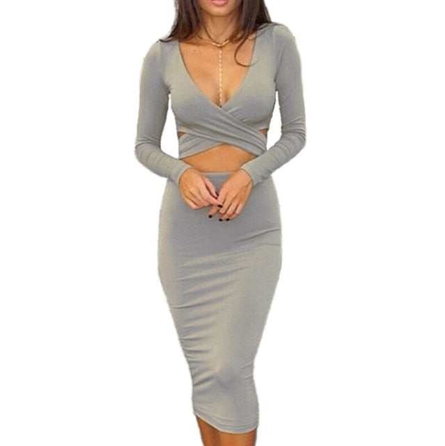 Nadafair Sexy Midi Pencil Club Bodycon Bandage Dress Women Autumn Winter Long Sleeve Red Black White Party Dress Vestidos-hipnfly-Gray-S-hipnfly