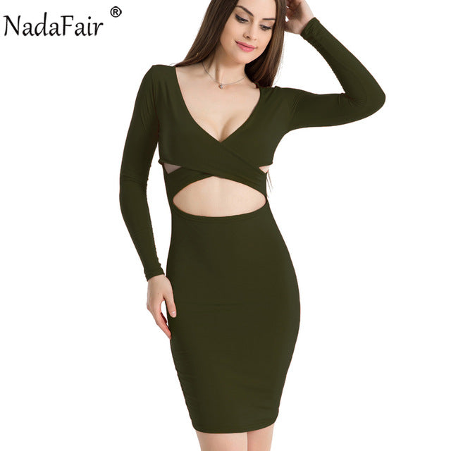 Nadafair Sexy Midi Pencil Club Bodycon Bandage Dress Women Autumn Winter Long Sleeve Red Black White Party Dress Vestidos-hipnfly-Army Green-S-hipnfly