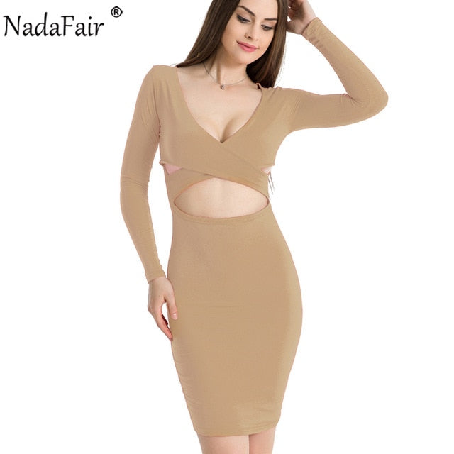Nadafair Sexy Midi Pencil Club Bodycon Bandage Dress Women Autumn Winter Long Sleeve Red Black White Party Dress Vestidos-hipnfly-Khaki-S-hipnfly