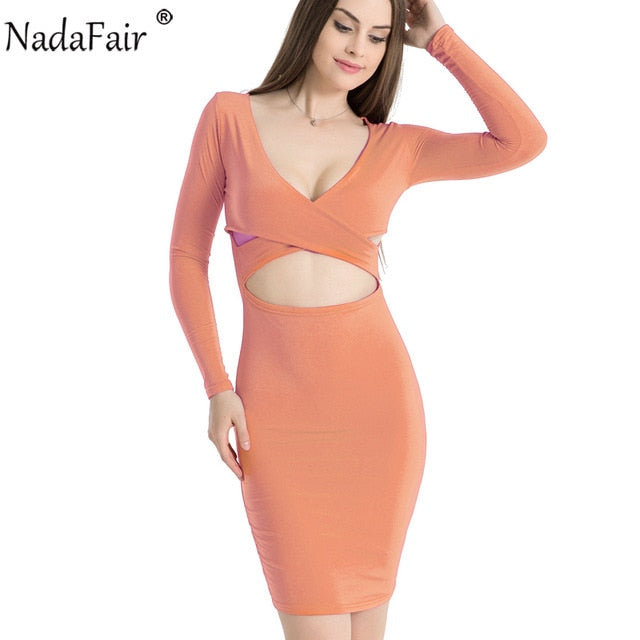 Nadafair Sexy Midi Pencil Club Bodycon Bandage Dress Women Autumn Winter Long Sleeve Red Black White Party Dress Vestidos-hipnfly-Pink-S-hipnfly