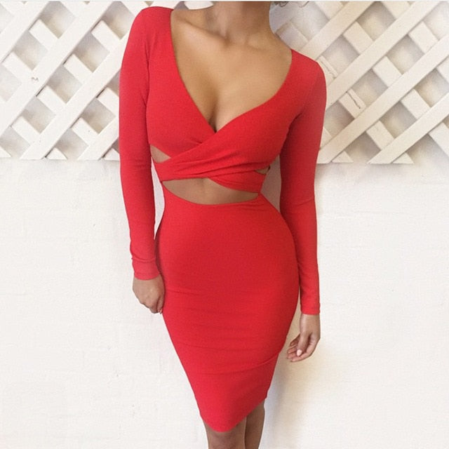 Nadafair Sexy Midi Pencil Club Bodycon Bandage Dress Women Autumn Winter Long Sleeve Red Black White Party Dress Vestidos