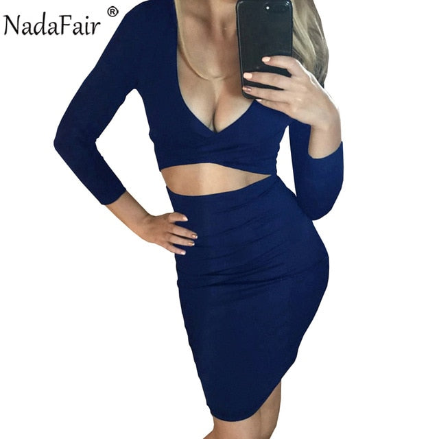 Nadafair Sexy Midi Pencil Club Bodycon Bandage Dress Women Autumn Winter Long Sleeve Red Black White Party Dress Vestidos-hipnfly-Navy Blue-S-hipnfly