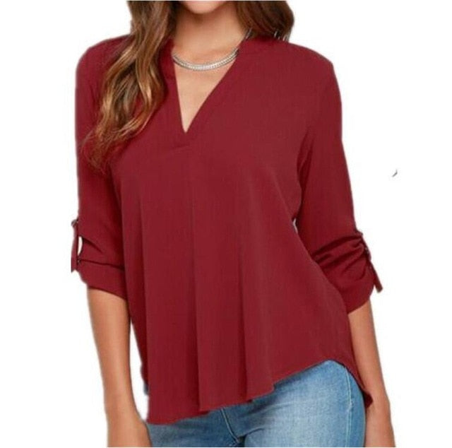 2019 New Fashion shirt women elegant blouses vintage chiffon blouse long sleeve OL shirts casual plus size women clothing blusas-hipnfly-Red-XXXL-hipnfly