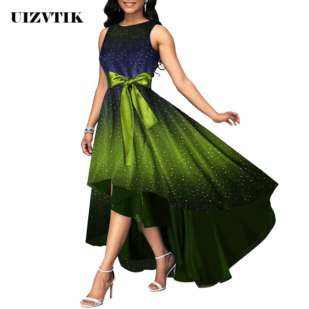 Summer Dress Women 2019 Elegant Sexy Luxury Starry Sky Print Long Party Dress Casual Plus Size Slim Ball Gown Maxi Dresses 5XL-hipnfly-hipnfly