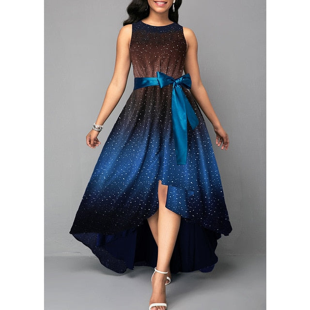 Summer Dress Women 2019 Elegant Sexy Luxury Starry Sky Print Long Party Dress Casual Plus Size Slim Ball Gown Maxi Dresses 5XL-hipnfly-Blue-M-hipnfly