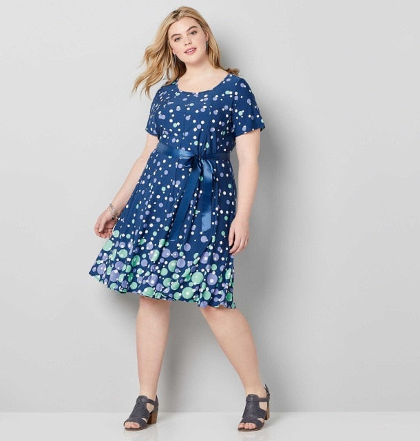 COCOEPPS Dress Women 2019 Plus Size Party Summer Polka Vintage Blue Dot Print Dresses loose Casual 5XL 6XL Big Size Vestidos-hipnfly-blue-XXL-hipnfly