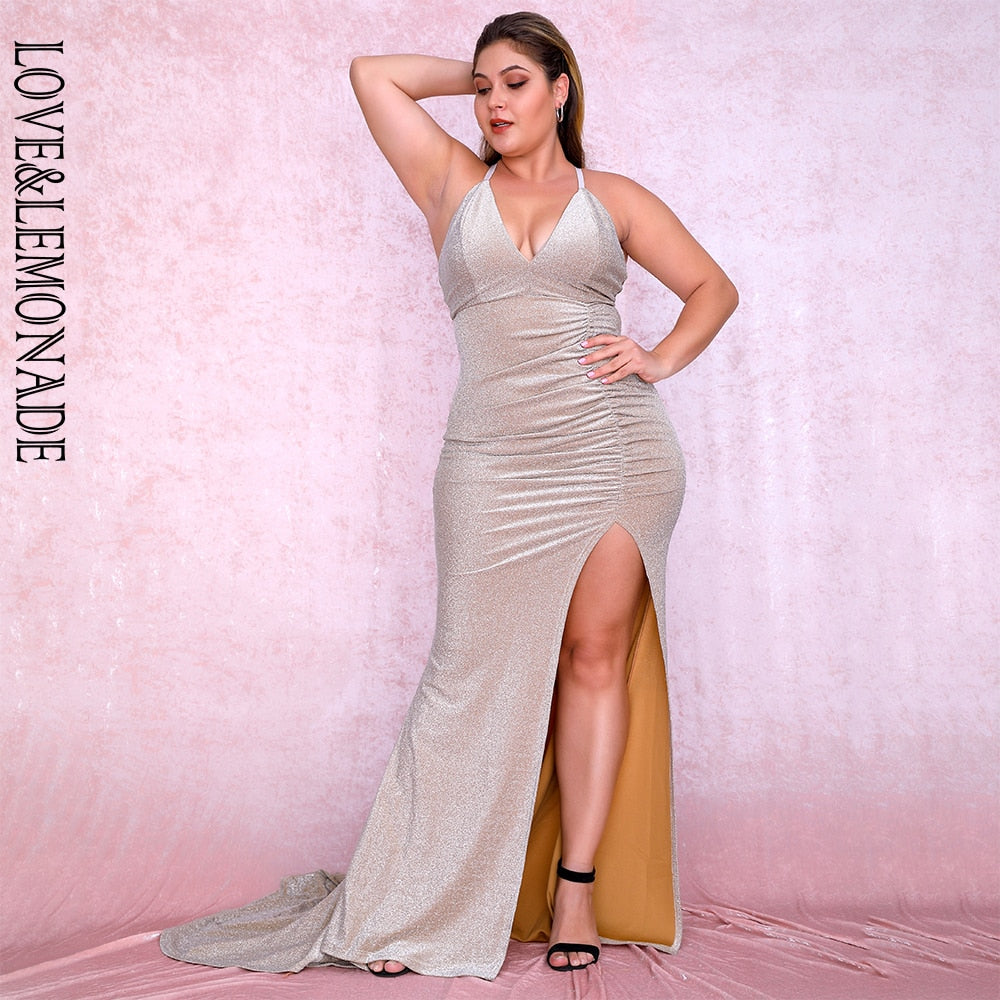 LOVE&LEMONADE Plus size Sexy Nude Deep V-Neck Cut Out Bodycon Shiny Elastic Fabric Maxi Dress LM81709PLUS autumn/winter-hipnfly-hipnfly