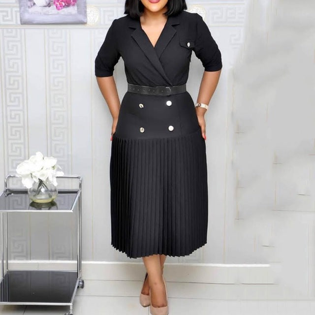 Vintage Elegant Office Ladies Black Plus Size Summer Women Midi Pleated Dresses Button Fall 2019 Plain Female Fashion Dress-hipnfly-Black-M-hipnfly