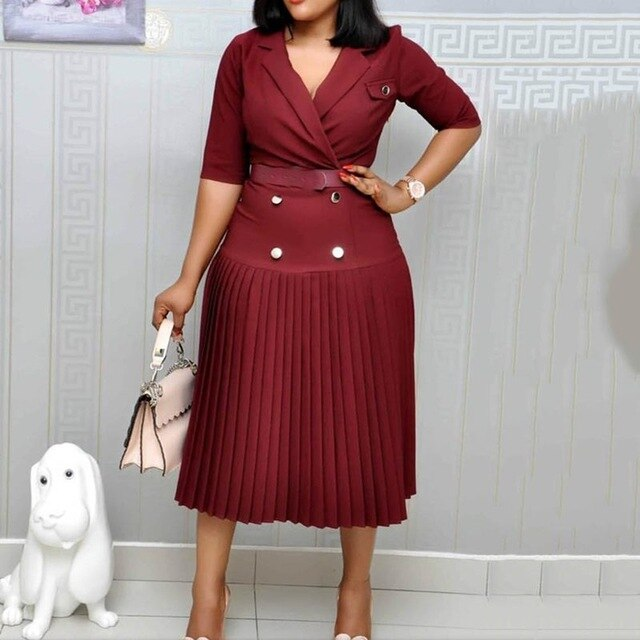 Vintage Elegant Office Ladies Black Plus Size Summer Women Midi Pleated Dresses Button Fall 2019 Plain Female Fashion Dress-hipnfly-Burgundy-L-hipnfly