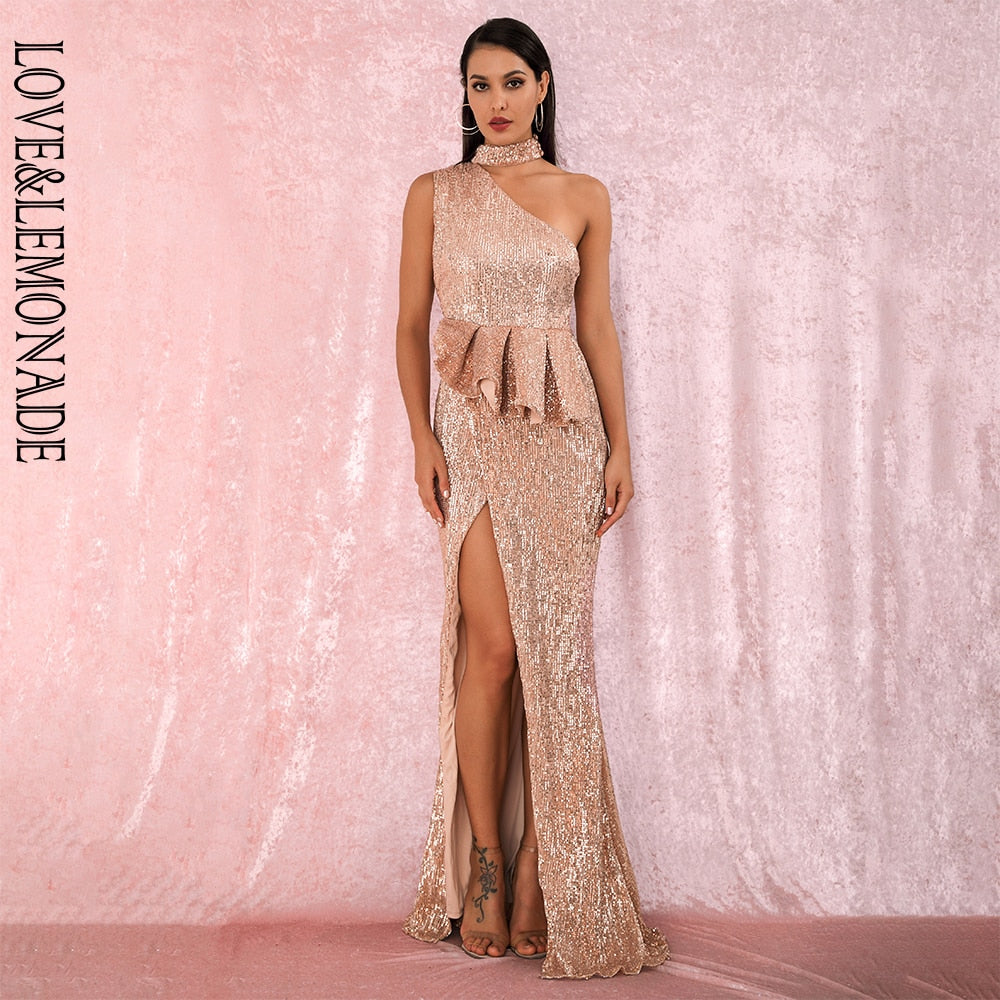 LOVE&LEMONADE A/W Sexy Rose Glod Halter Strapless Shoulders Ruffled Split Elastic Sequins Sleeveless Party MAXI Dress LM81953-hipnfly-hipnfly