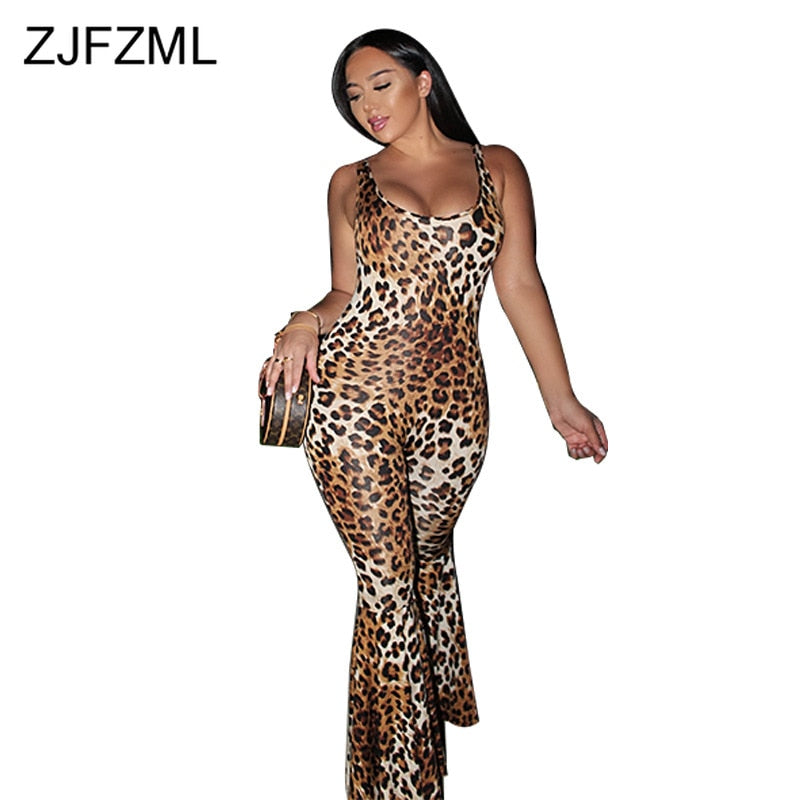 Sexy Leopard One Piece Flare Jumpsuit for Women Spaghetti Strap Open Back Skinny Overall Summer Scoop Neck Bandage Club Playsuit-hipnfly-hipnfly