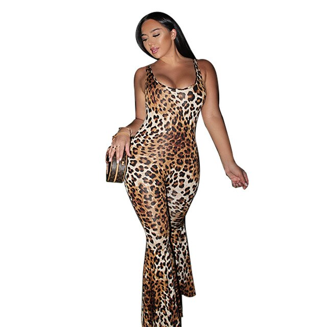 Sexy Leopard One Piece Flare Jumpsuit for Women Spaghetti Strap Open Back Skinny Overall Summer Scoop Neck Bandage Club Playsuit-hipnfly-Leopard-XL-hipnfly