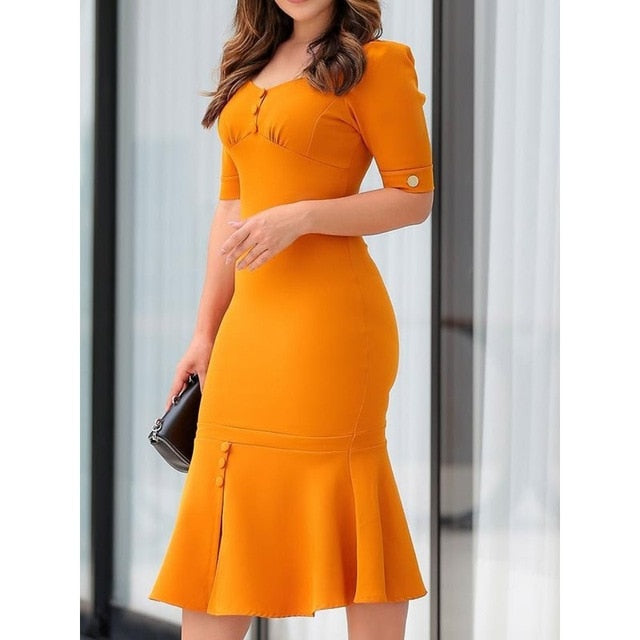 Women Bodycon Dress Elegant Office Sexy Ruffle Mermaid Vintage Slim French Street Fashion High Waist Summer Casual Midi Dresses-hipnfly-Orange-M-hipnfly