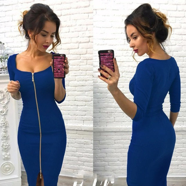 Lossky Women Sexy Club Low Cut Bodycon Dress Red Velvet Sheath 2019 Casual Autumn Winter Zipper Fashion Black Pure Dresses-hipnfly-Blue-L-hipnfly