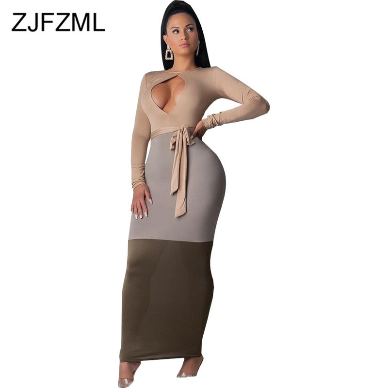 Contrast Color Front Cut Out Sexy Long Dress Women O Neck Long Sleeve Skinny Party Dress Plus Size High Waist Belt Bandage Dress-hipnfly-hipnfly