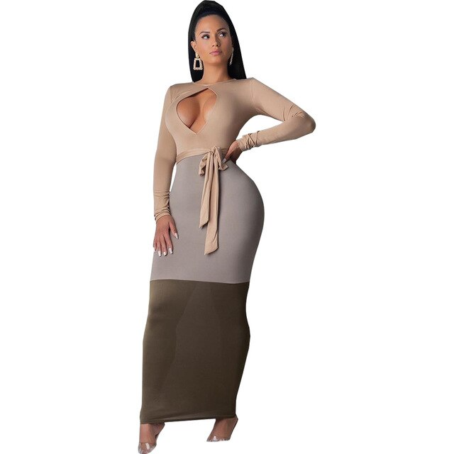 Contrast Color Front Cut Out Sexy Long Dress Women O Neck Long Sleeve Skinny Party Dress Plus Size High Waist Belt Bandage Dress-hipnfly-Beige-L-hipnfly