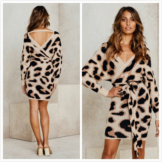 Women Knitted Mini Dress Backless Sexy V Neck Leopard Print Autumn Long Sleeve Lace Up Bodycon Dress 2019 Plus Size Lady Vestido