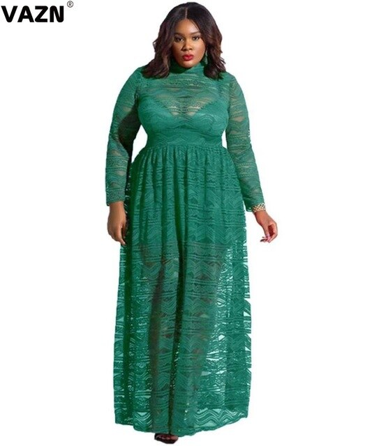 VAZN JLY18992 New Plus Size Vacation Sexy High-end Fashion Solid Round Neck Full Sleeve Women Waist Braid Soft Long Maxi Dress-hipnfly-Green-4XL-hipnfly