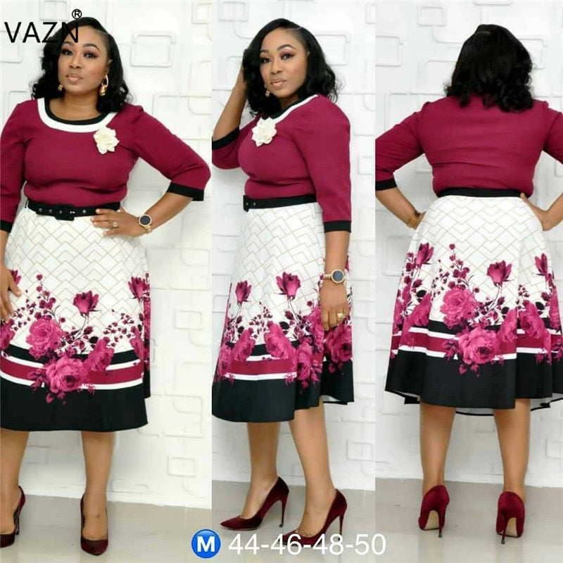 VAZN XL8825 New Plus Size Dress High-end Sexy Office Untidy Fashion Print Free High Waist Women Ball Gown Midi Dress-hipnfly-hipnfly