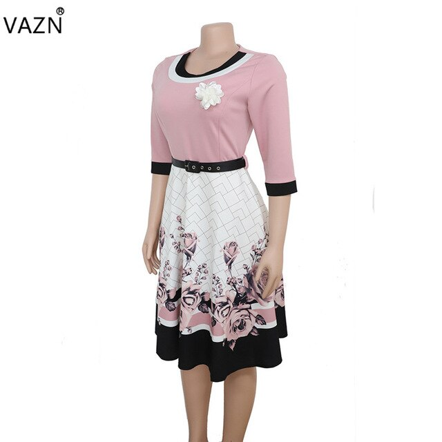 VAZN XL8825 New Plus Size Dress High-end Sexy Office Untidy Fashion Print Free High Waist Women Ball Gown Midi Dress-hipnfly-Pink-XXXL-hipnfly