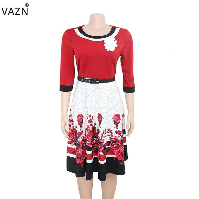 VAZN XL8825 New Plus Size Dress High-end Sexy Office Untidy Fashion Print Free High Waist Women Ball Gown Midi Dress-hipnfly-deep red-L-hipnfly