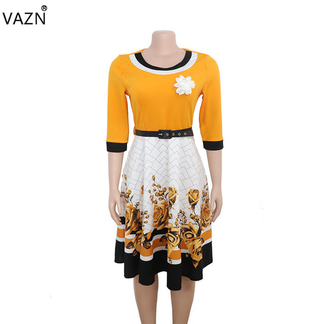 VAZN XL8825 New Plus Size Dress High-end Sexy Office Untidy Fashion Print Free High Waist Women Ball Gown Midi Dress-hipnfly-YELLOW-XXXL-hipnfly