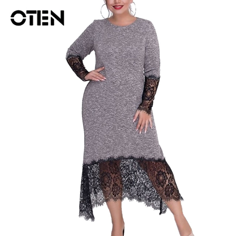 OTEN 2019 Autumn Plus Size Women Dresses Straight Casual Midi-Length Winter Patchwork Lace O-Neck Long Sleeves Vestidos Плать