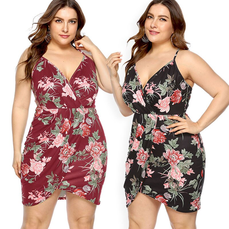 Plus Size Bodycon Dress Women Sling Strapless Lady Dress Floral Print Dress Deep V-Neck Women Mini Dress Sexy Club Wear Dress
