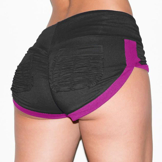 Best selling hip color matching pocket yoga pants running shorts-hipnfly-Black-M-hipnfly