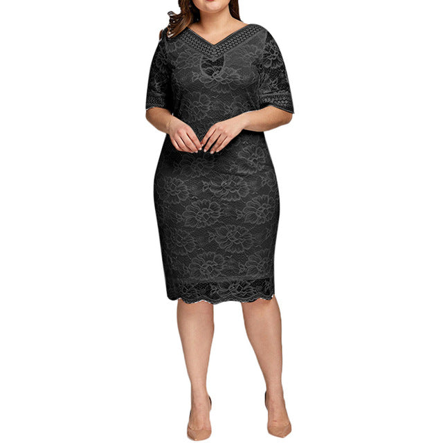 Women Plus Size Sexy V-Neck Lace Short Sleeve knee-length Evening Party Dress Women Casual Lace Patchwork Straight Dress