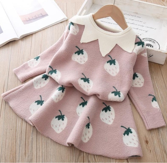 baby Autumn Winter girls Clothing set Kids cotton 2 pcs Cloths Children outfits Shirt + skirt Sweater suit for girls knitted 3T-hipnfly-pink2-4T-hipnfly