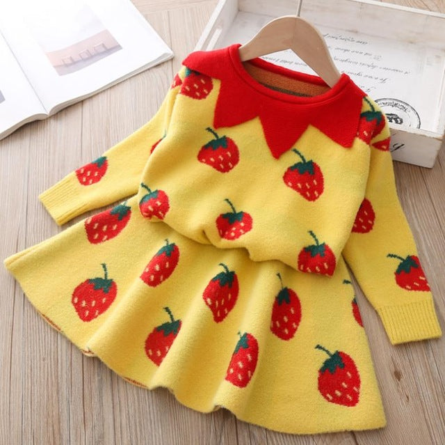 baby Autumn Winter girls Clothing set Kids cotton 2 pcs Cloths Children outfits Shirt + skirt Sweater suit for girls knitted 3T-hipnfly-hipnfly