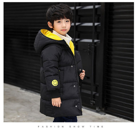 2019 New Autumn&winter fashion Children Cotton coats Kids long Outwear boys Smiley coat Children's winter jacket-hipnfly-hipnfly