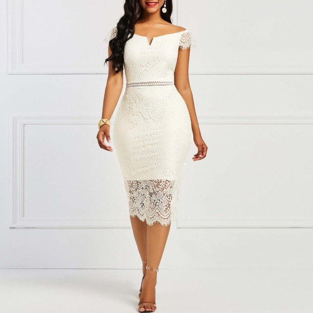 Short sleeve back zipper lace strapless fashion dress size S-Xxxl polyester plain African lady dress