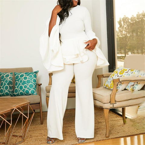 Autumn Winter Long Sleeve Ruffles White Jumpsuit Elegant Office Lady Plus Size Oversized 5XL African Ladies Party Long Jumpsuit
