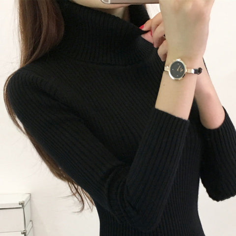 2018 New Autumn Winter Turtleneck Sweater Women Fashion Knitted Pull Femme High Quality Warm Pullover Sweater Women Jumpers