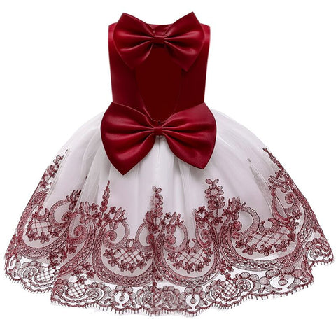 2019 summer Baby Girl Dress Open back Big bow tutu Baptism Dresses for Girls 1-5t infant birthday party wedding baby clothing