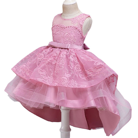 Children Evening Party Dress Lace Wedding Flower Girls Dress Performance Ball Gown Kids Embroidery Princess Dress 6 8 10 12 Year