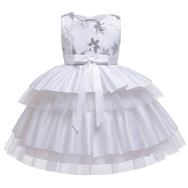Flower Girls Wedding Dress For Girls Bowknot Tutu Princess Dress Kids Christmas Dresses For Children Formal Evening Party Dress